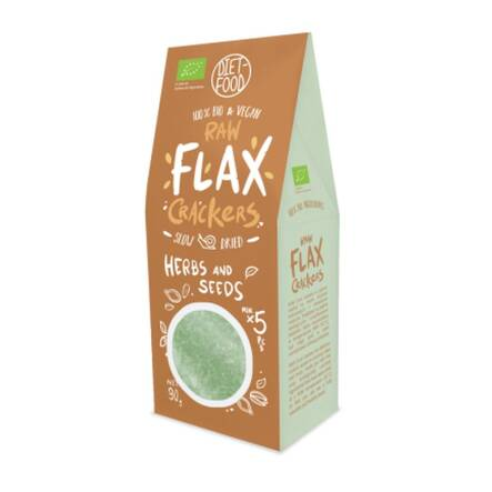Flax Crackers z Ziarnami i Ziołami Bio 90 g Diet Food